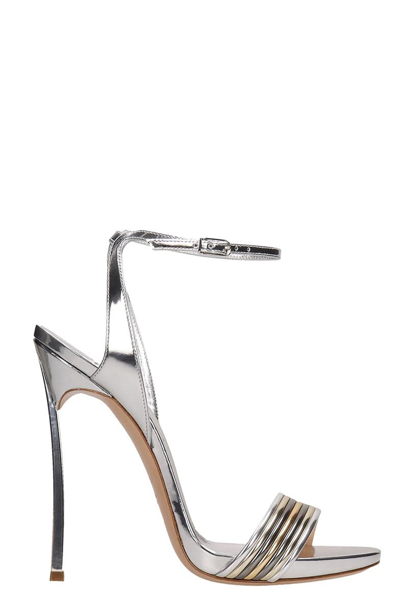 3ce5202784 Casadei Silver Leather Blade Sandals