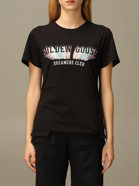Golden Goose T-shirt Golden Goose Cotton T-shirt With Multicolor Glitter Logo
