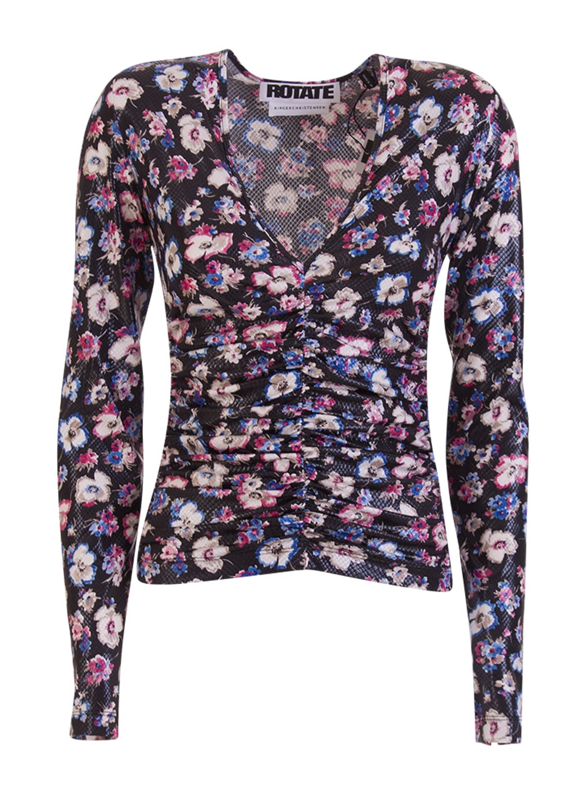 Rotate Birger Christensen Tops ROTATE FLORAL-PRINT RUCHED TOP