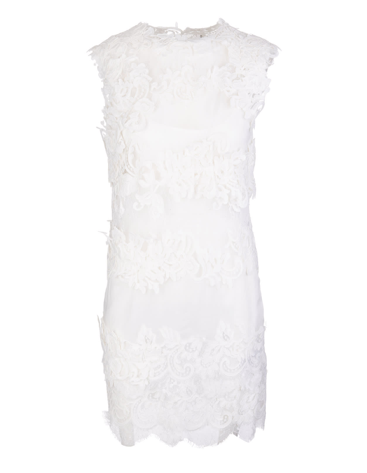 Buy Ermanno Scervino White Mini Dress With Lace Inserts online, shop Ermanno Scervino with free shipping