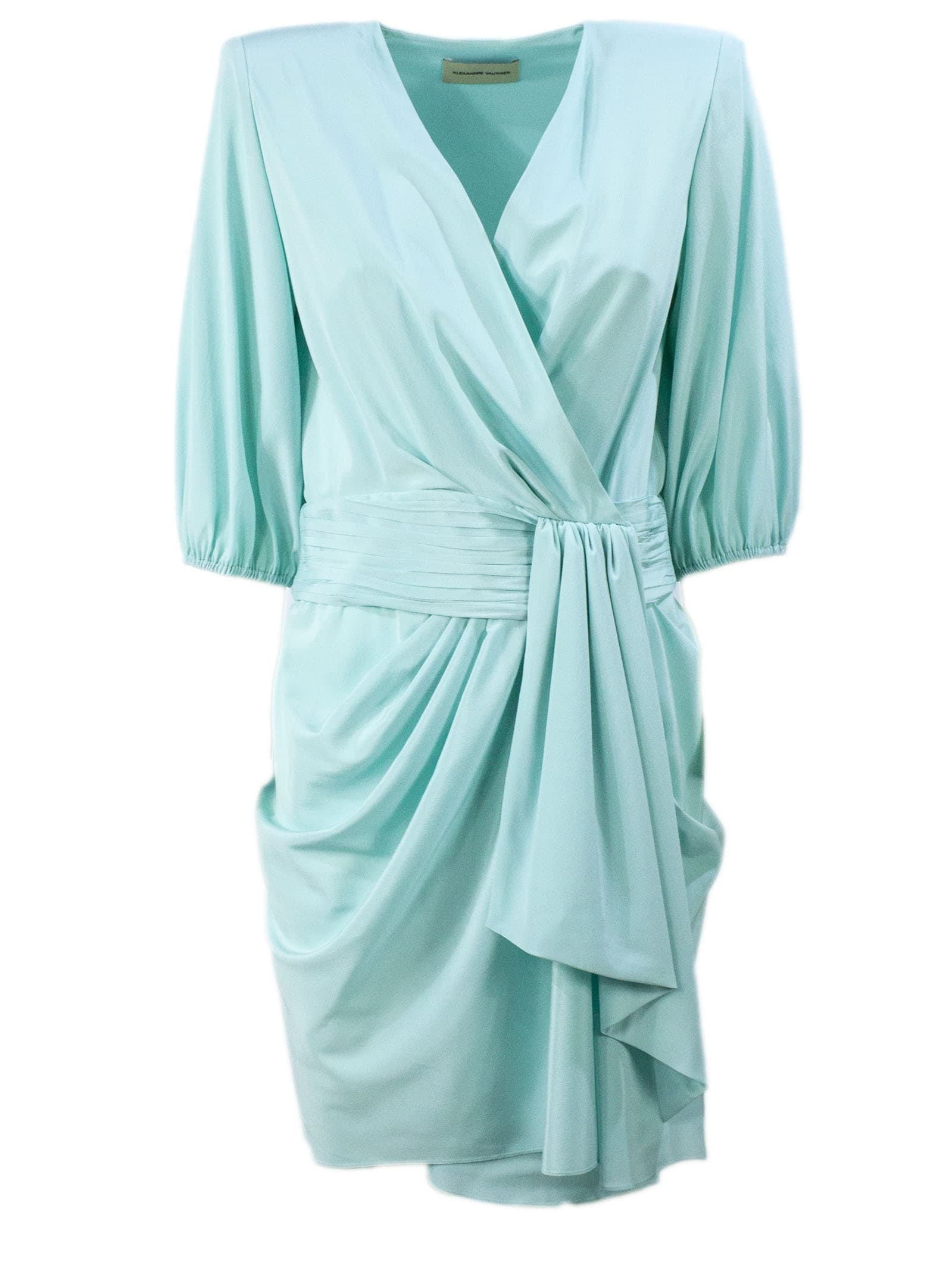 Buy Alexandre Vauthier Green Silk Draped Mini Dress online, shop Alexandre Vauthier with free shipping