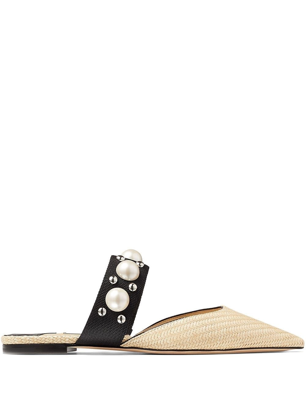 Buy Jimmy Choo Bassette Mules In Raffia With Pearl Insert online, shop Jimmy Choo shoes with free shipping