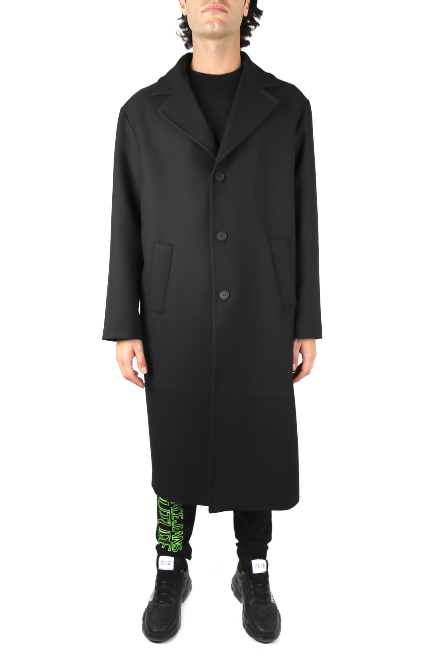 Versace Jeans Couture Oversized Black Tailored Coat