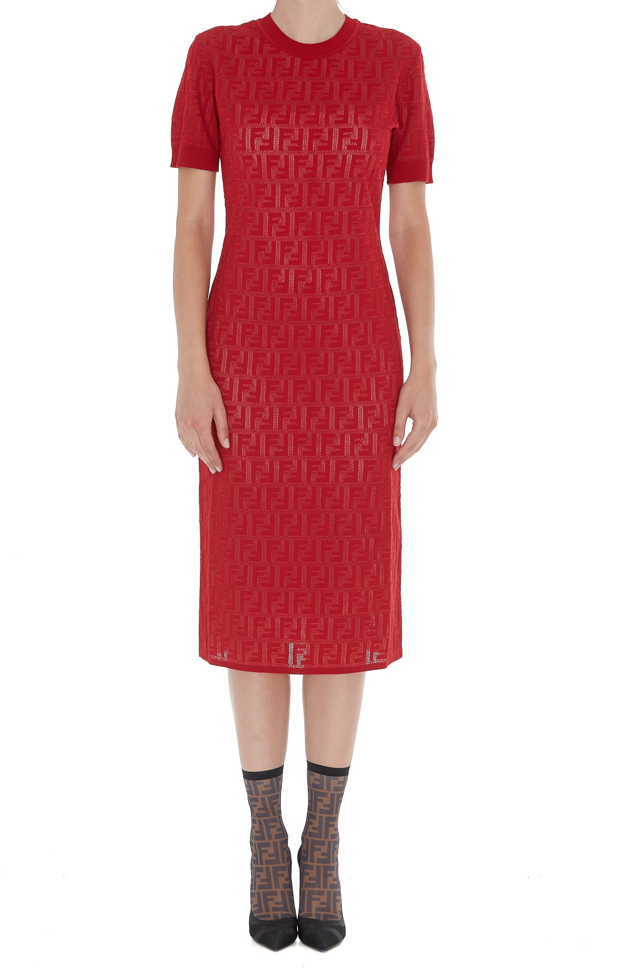 Fendi Midi Tight Logo Ff Dress