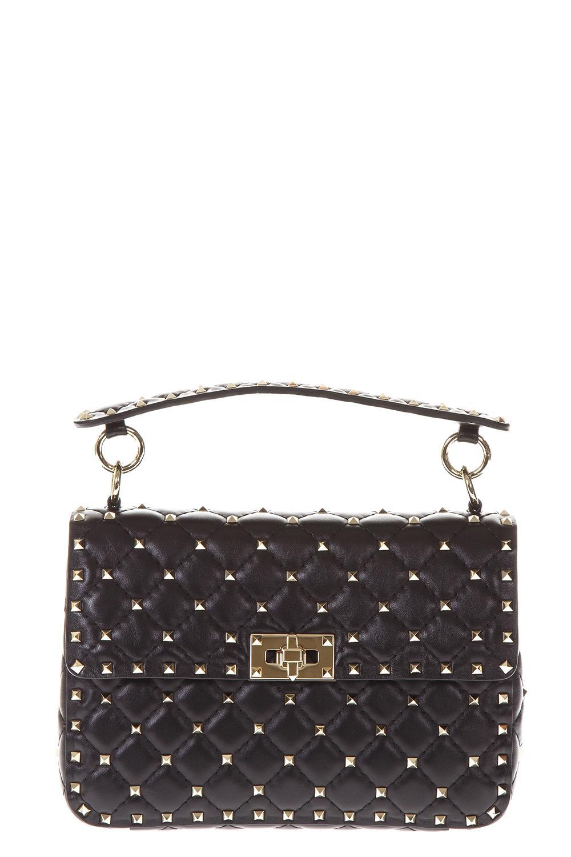 Valentino Garavani Spike Medium Quilted Leather Bag In Black