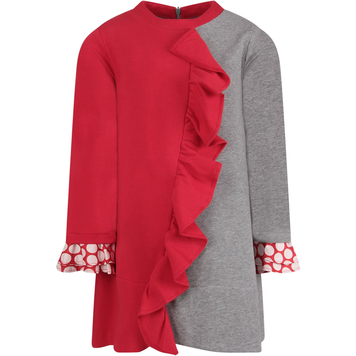 Simonetta Red And Grey Girl Dress With Metallic Logo