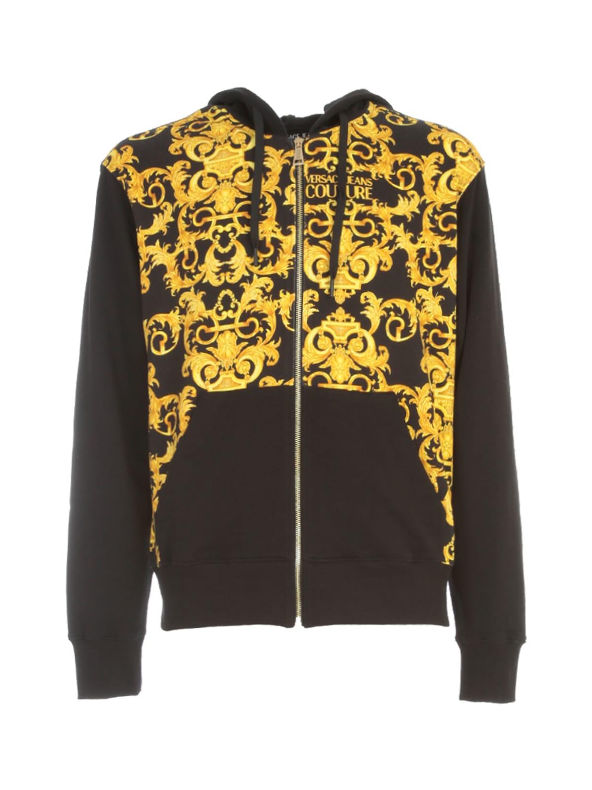 Versace Jeans Couture Baroque Fleece Print Logo Hooded Sweatshirt In Nero