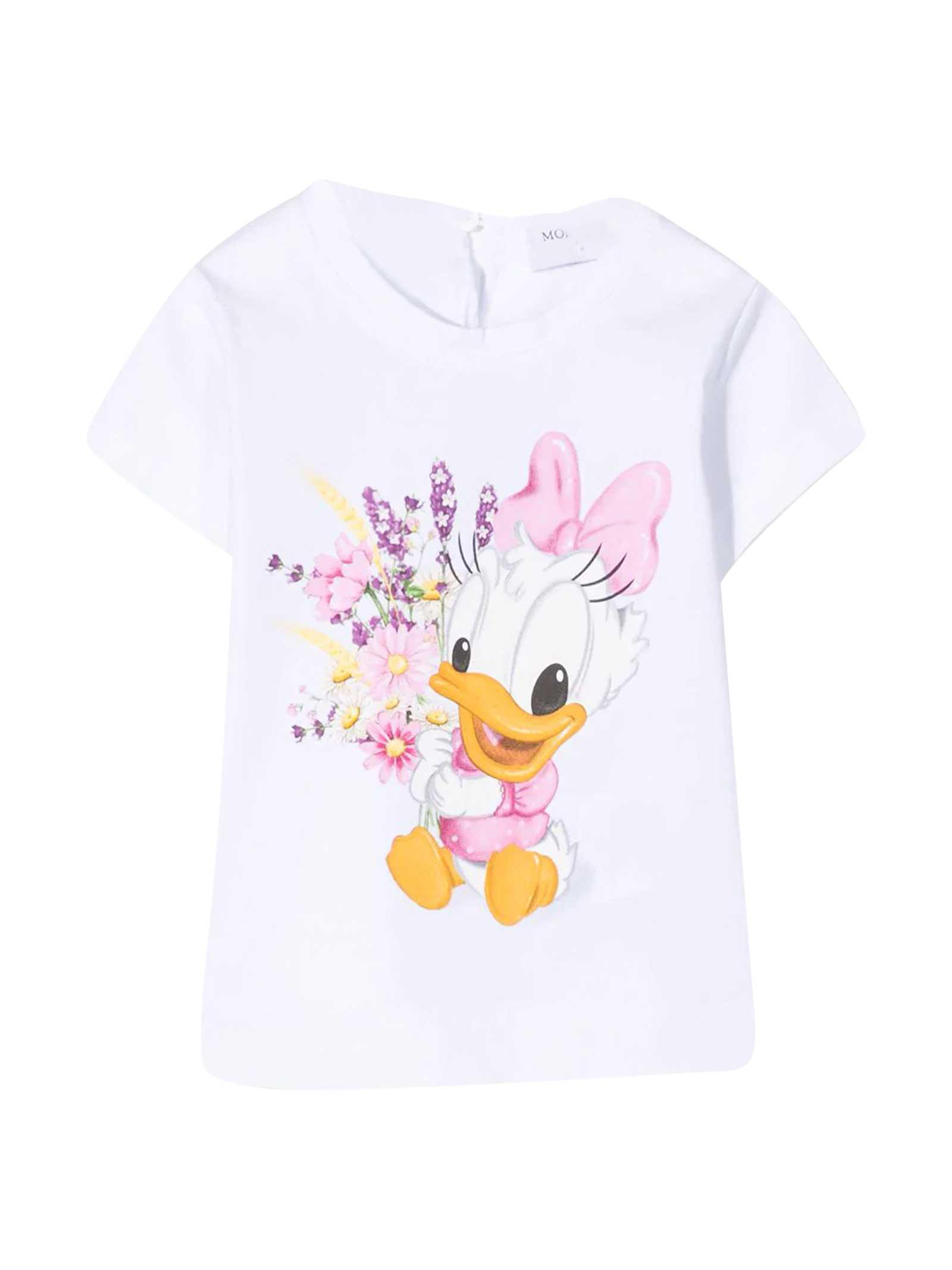 Monnalisa T-shirts WHITE T-SHIRT WITH MULLTICOLOR PRINT