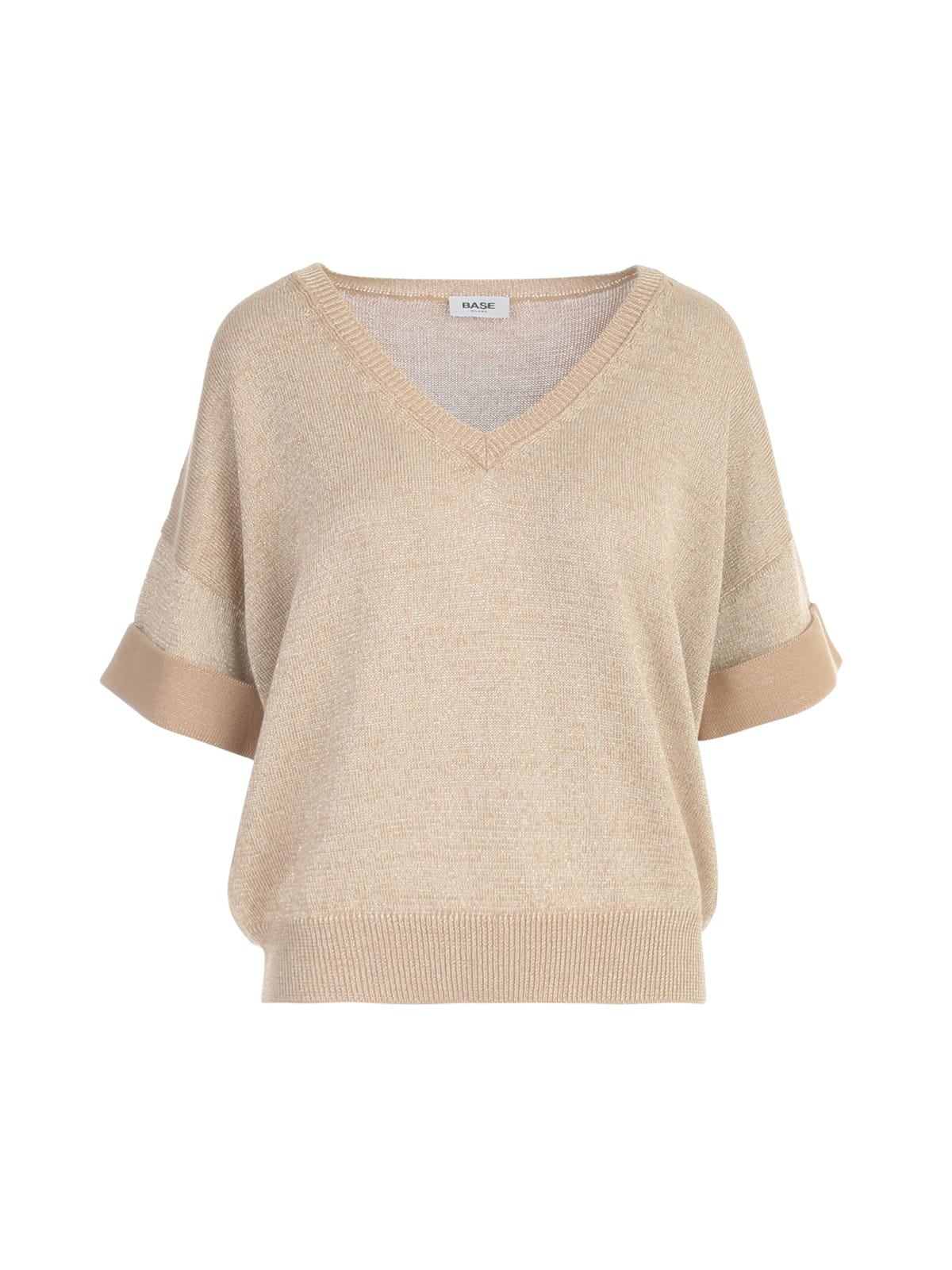 Lurex V Neck S/s Sweater