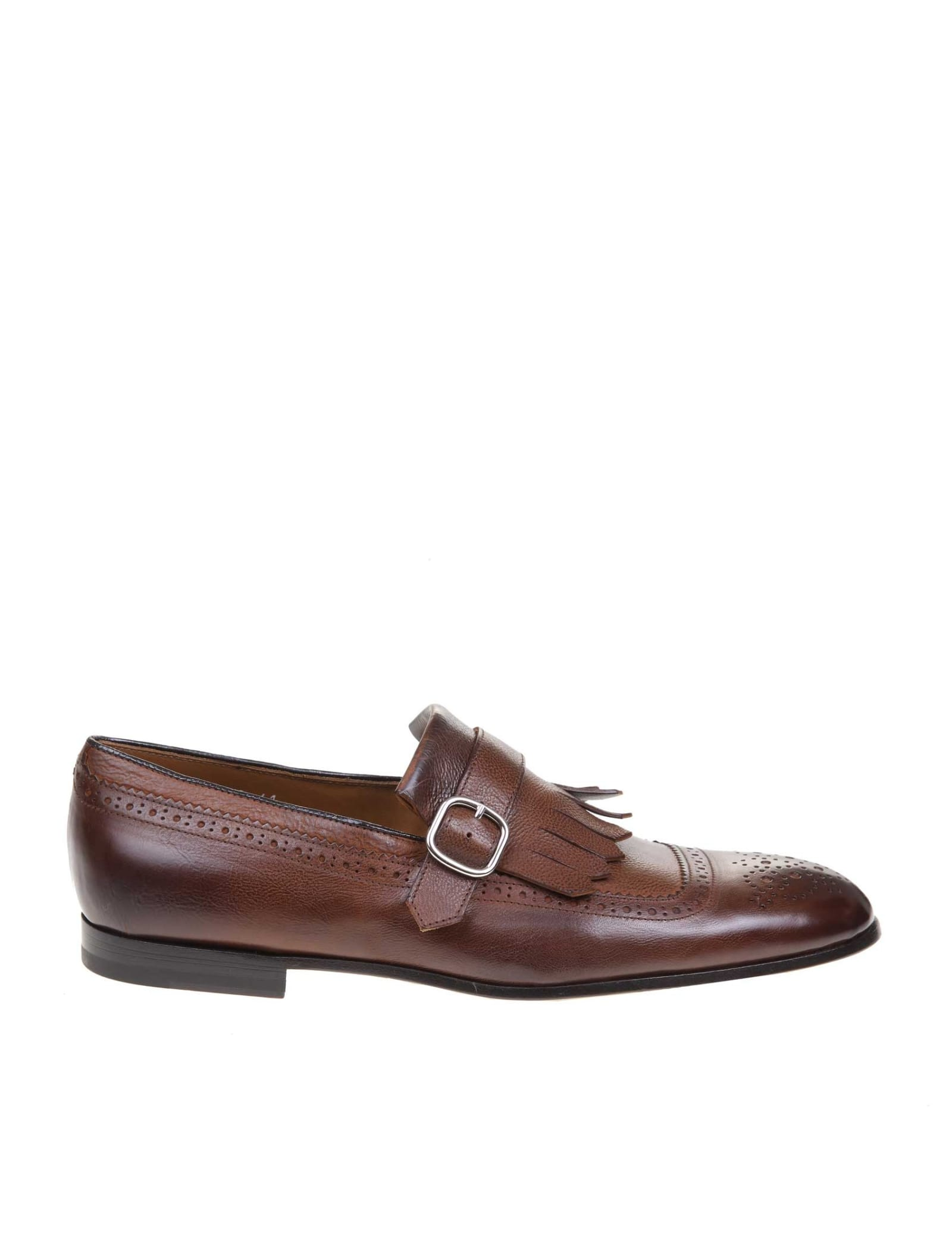 Doucals Moccasin In Leather With Buckle Color Brown
