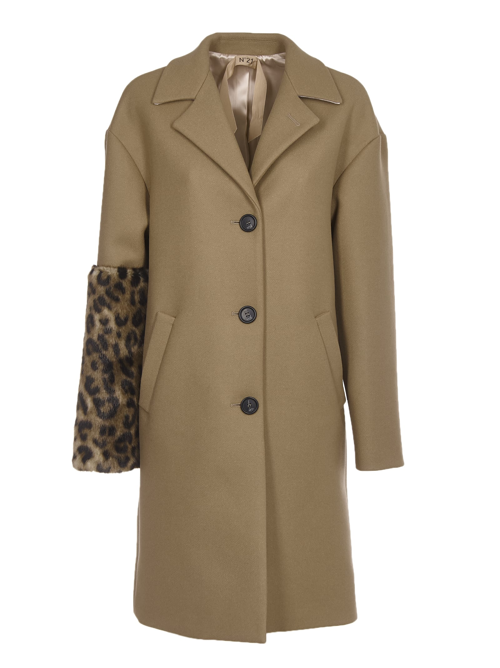 N.21 Camel Coat With Leopard Faux Fur