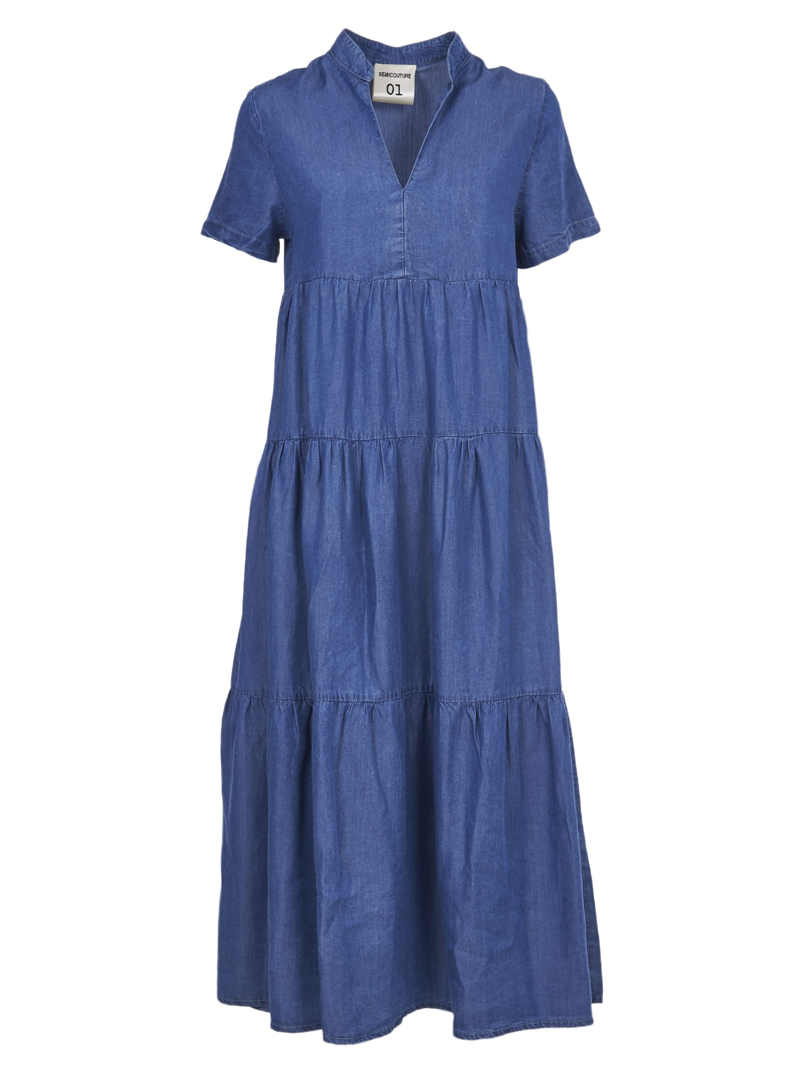 Buy SEMICOUTURE Long Blue Tencel Dress online, shop SEMICOUTURE with free shipping