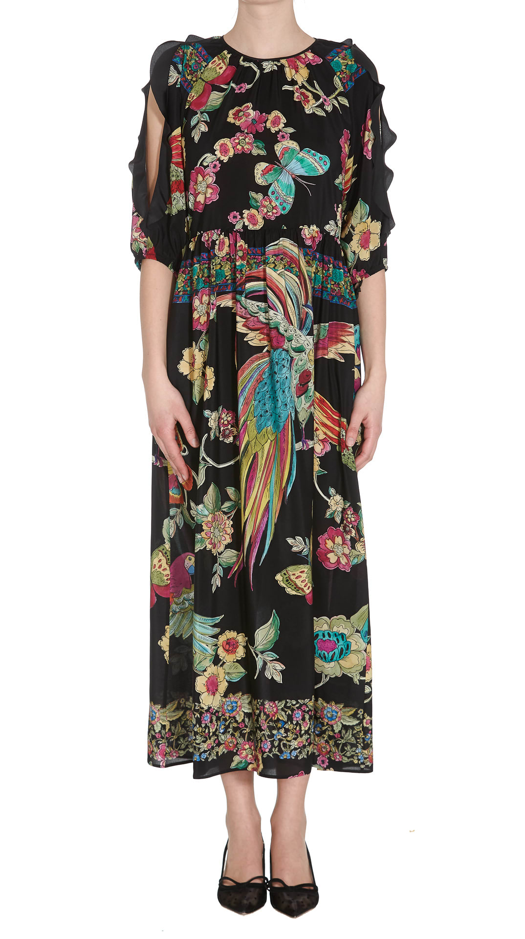 Buy Red Valentino Dress Flowers And Butterflies Print online, shop RED Valentino with free shipping