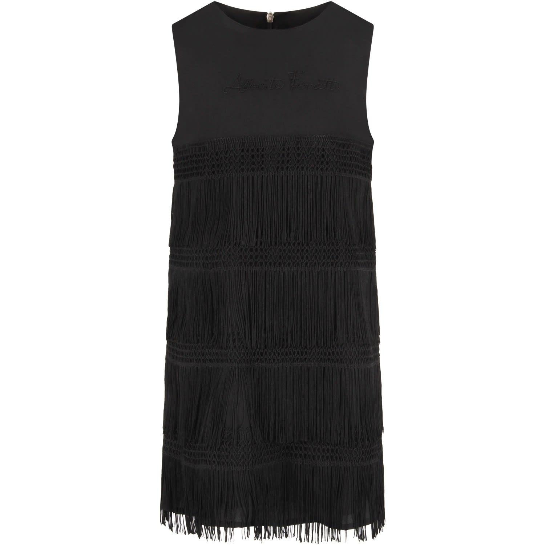 Buy Alberta Ferretti Black Girl Dress With Logo online, shop Alberta Ferretti with free shipping