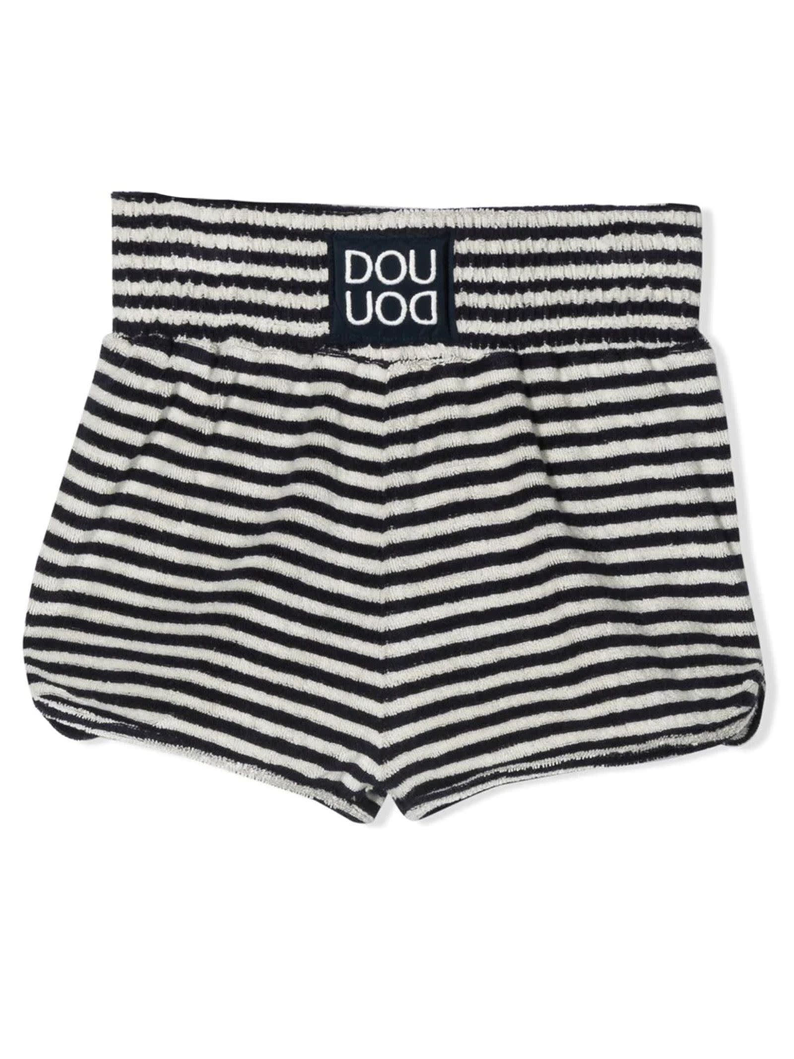 Black And White Cotton Blend Shorts