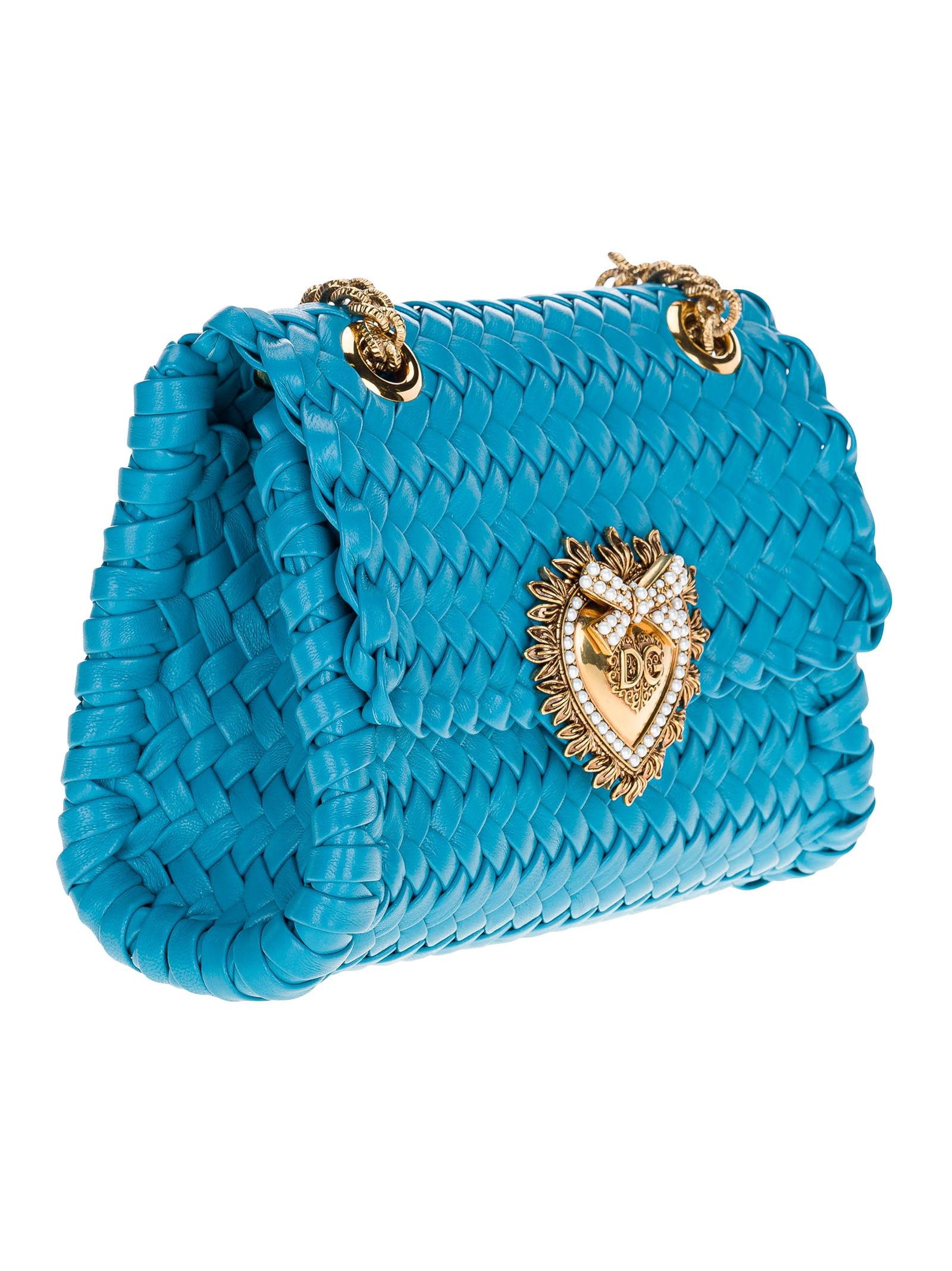 Dolce & Gabbana DOLCE & GABBANA SMALL DEVOTION SHOULDER BAG IN WOVEN NAPPA LEATHER