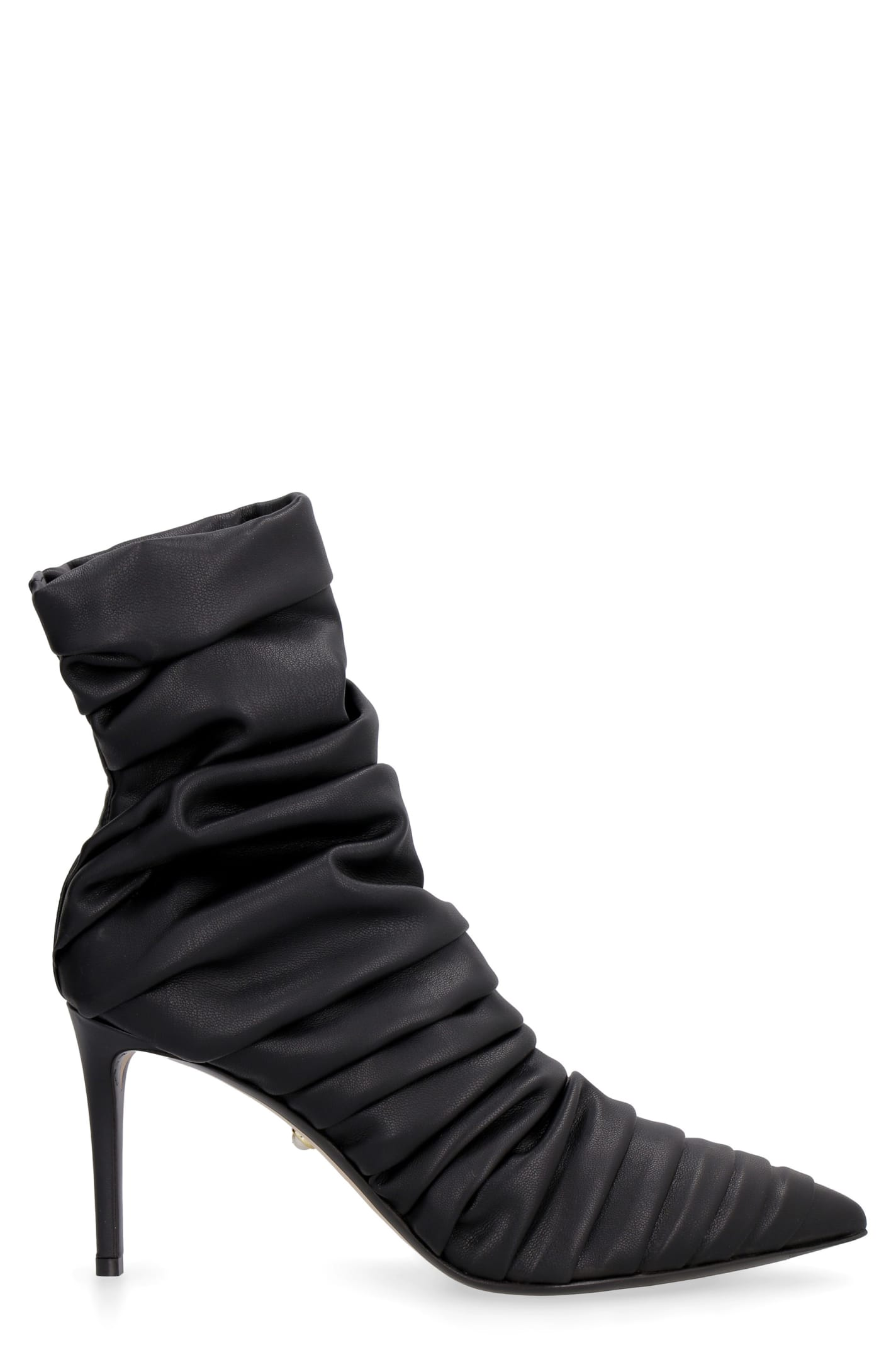 Gaia Draped Leather Ankle Boots