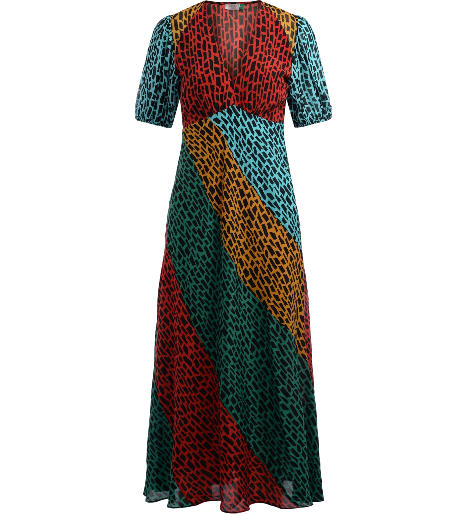Buy Rixo Maxi Dress Model Amber In Multicolor Giraffe Print online, shop RIXO with free shipping