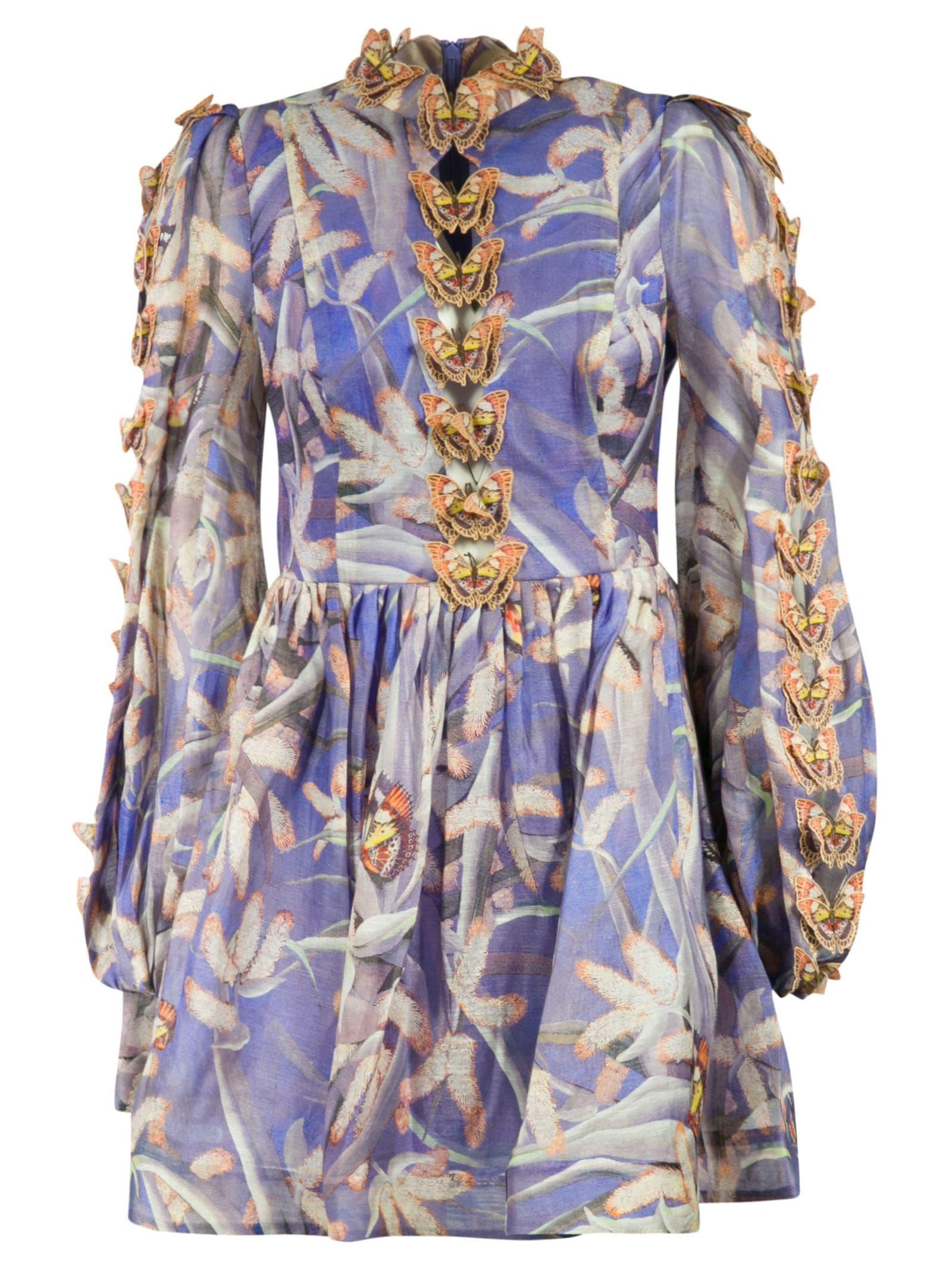 Buy Zimmermann Botanica Butterfly Mini Dress online, shop Zimmermann with free shipping