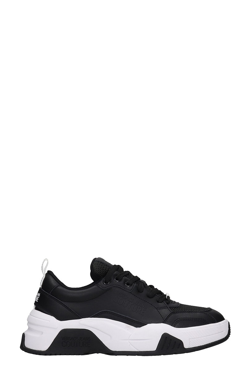 VERSACE JEANS COUTURE SNEAKERS IN BLACK LEATHER AND FABRIC