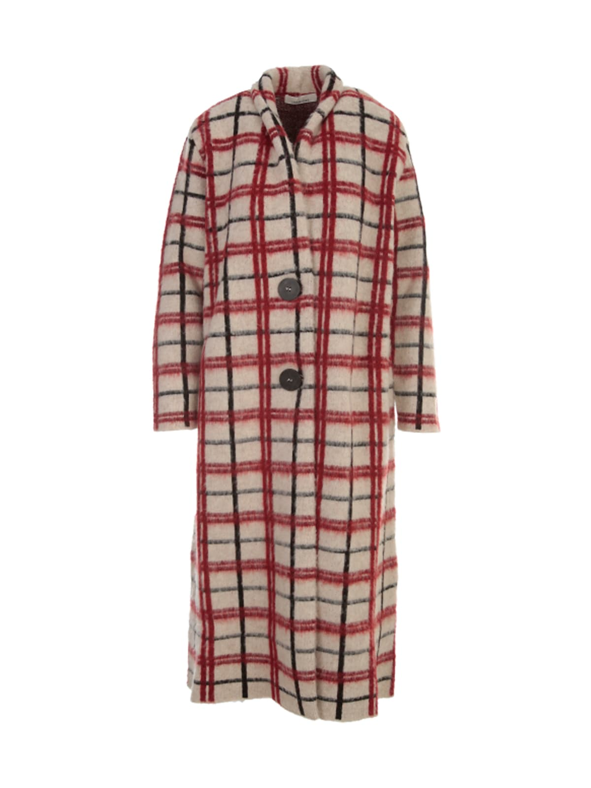 Checked Long Single Breasted Coat