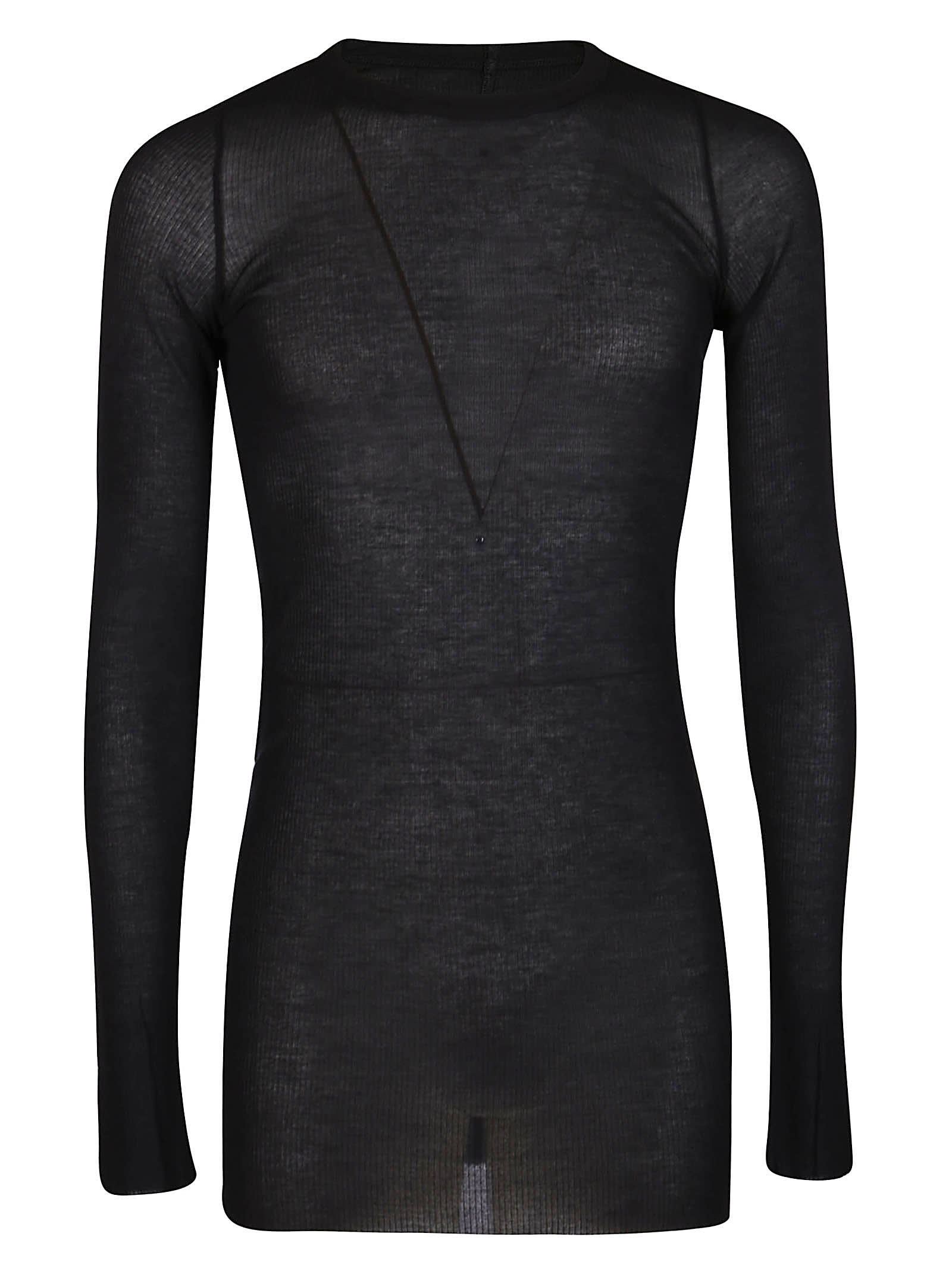 Rick Owens Black Viscose-silk Blend T-shirt
