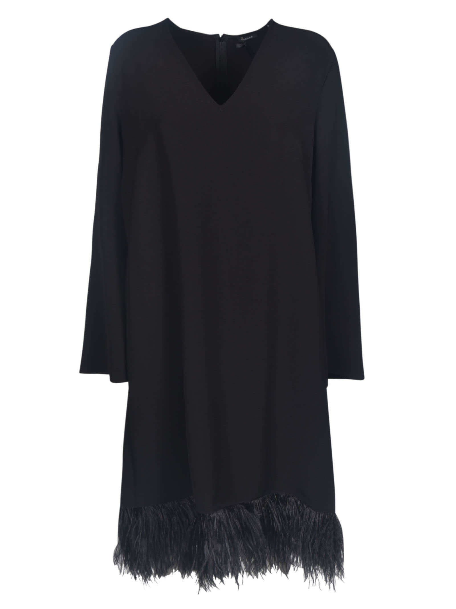 Parosh Long-sleeved Fringed Skirt Dress