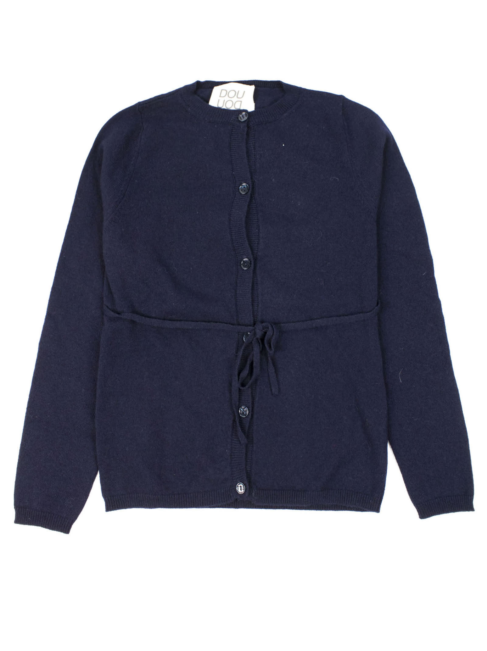 Blue Wool Blend Cardigan