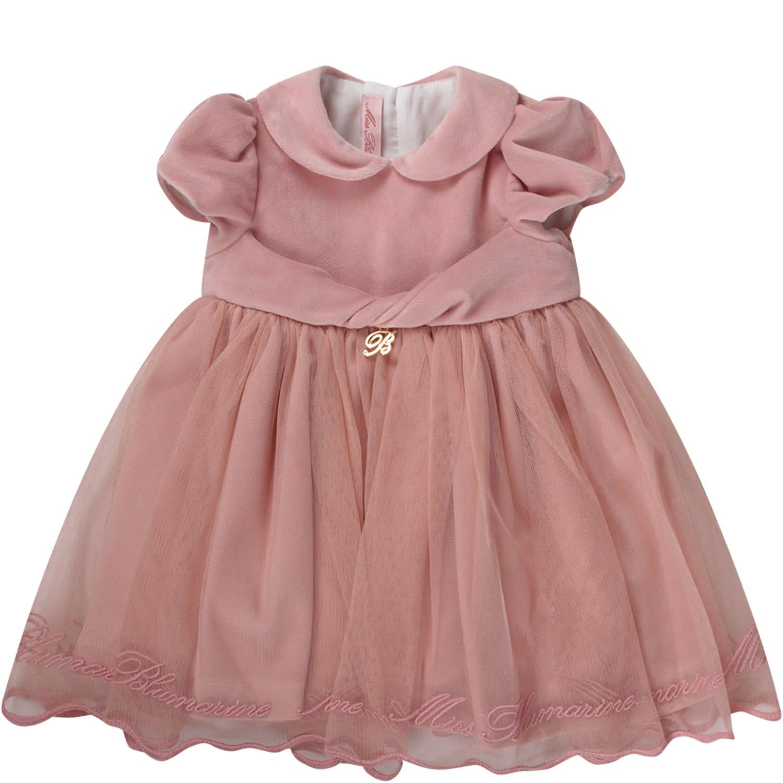 Blumarine Pink Baygirl Dress With Gold Logo