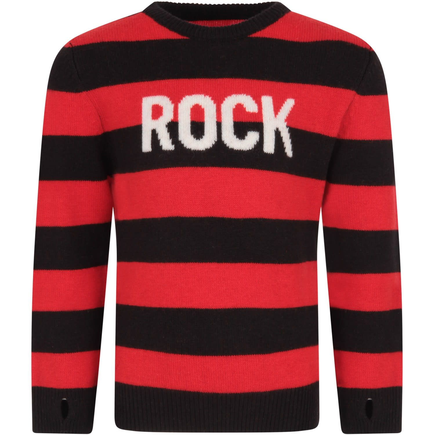 Zadig & Voltaire RED AND BLACK BOY SWEATER WITH WHITE WRITING