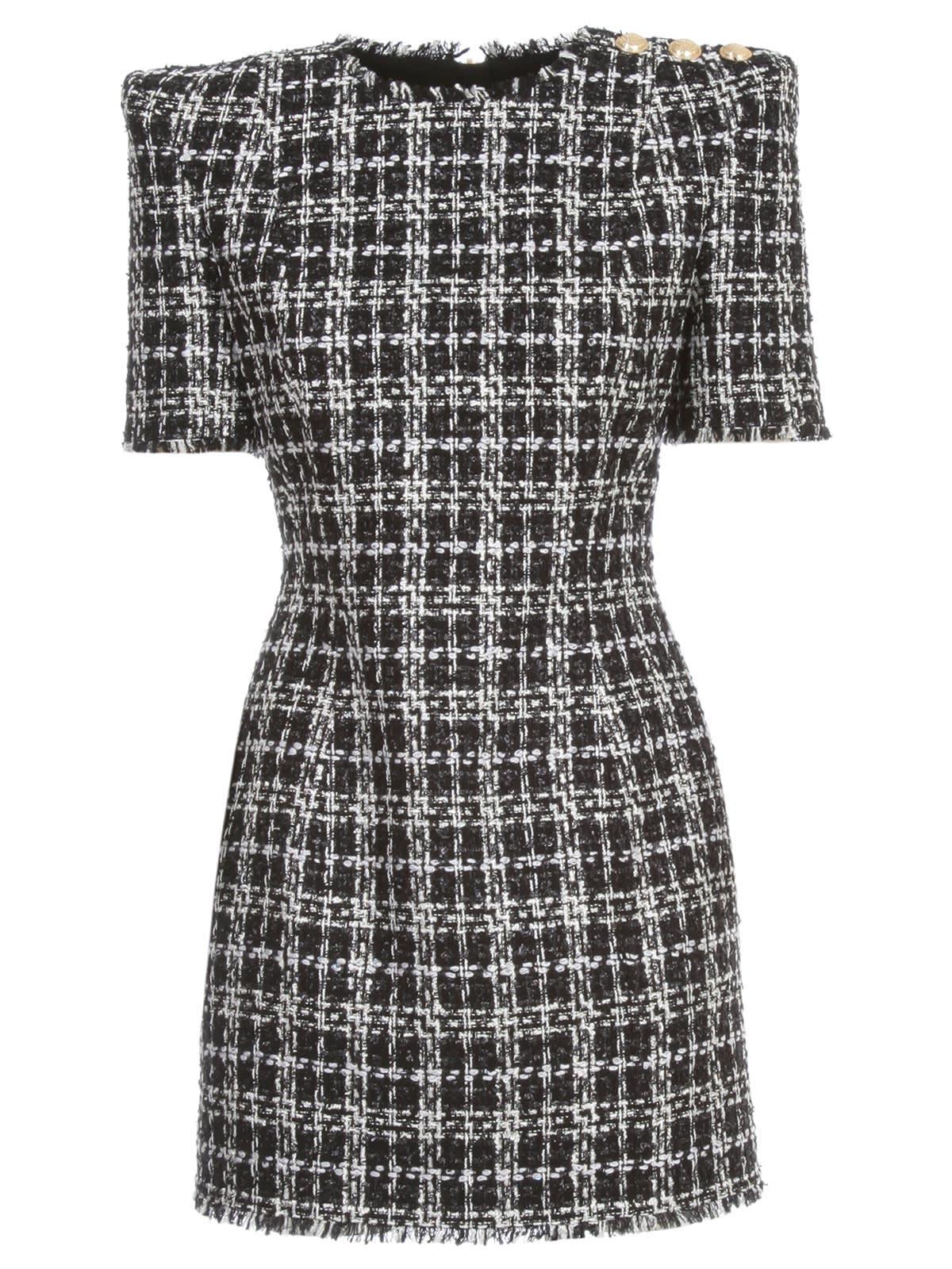 Buy Balmain Dress S/s Short Lurex Tweed online, shop Balmain with free shipping