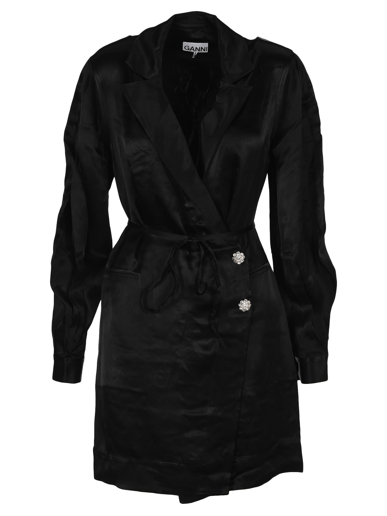 Buy Ganni Belted Wrap Dress online, shop Ganni with free shipping