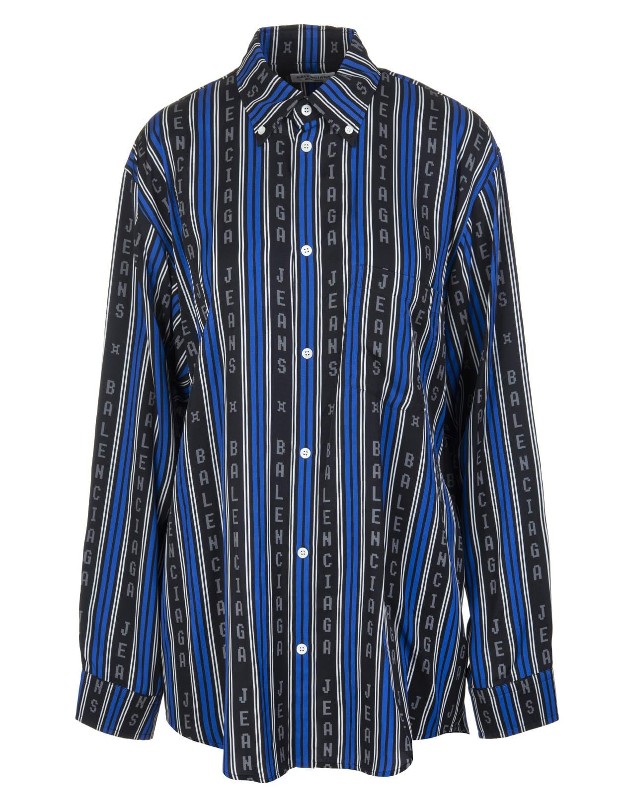 Balenciaga Shirts BLACK AND BLUE LARGE FIT SHIRT
