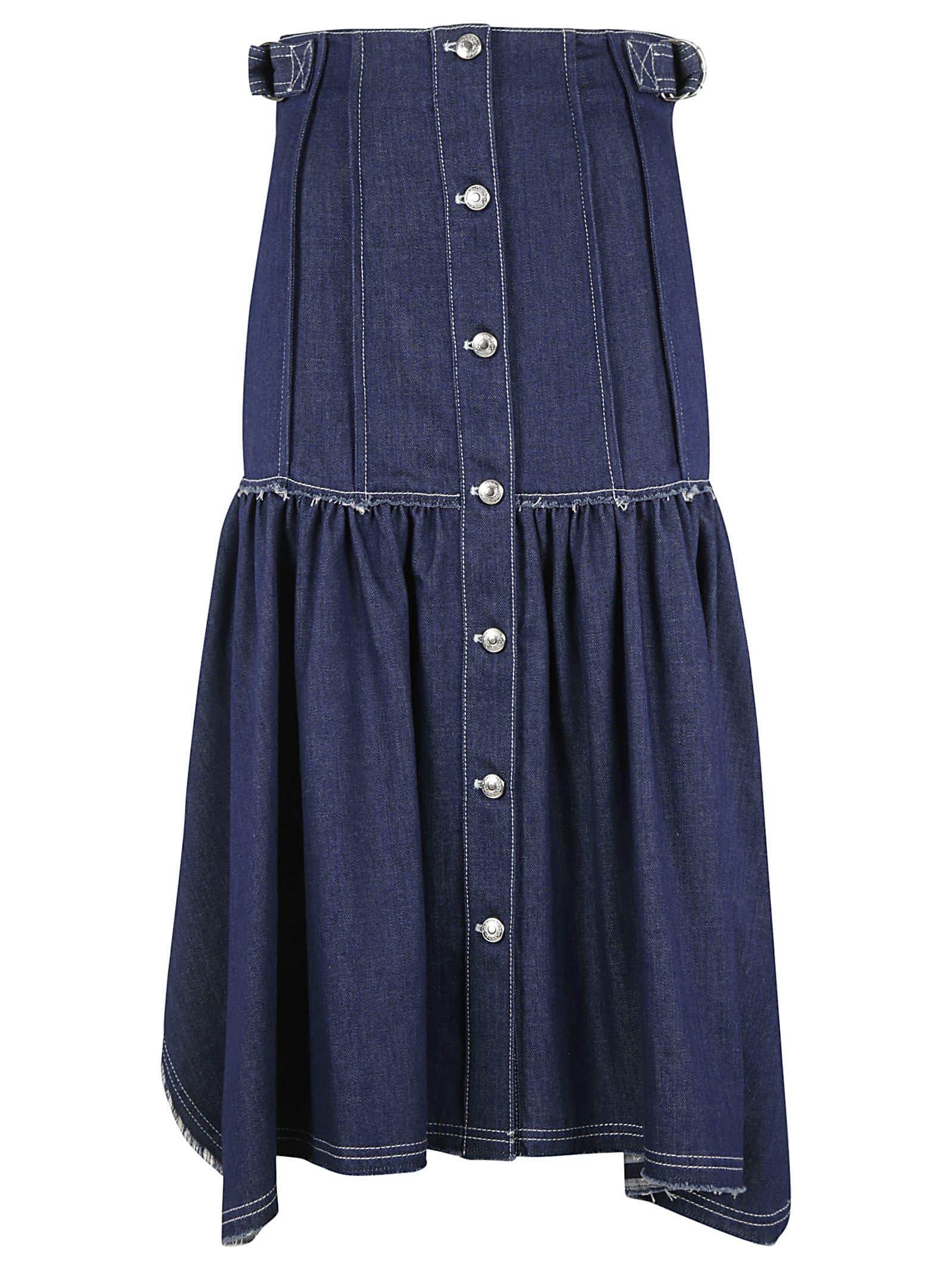Buy Chloé Off-shoulder Back Buttoned Denim Dress online, shop Chloé with free shipping