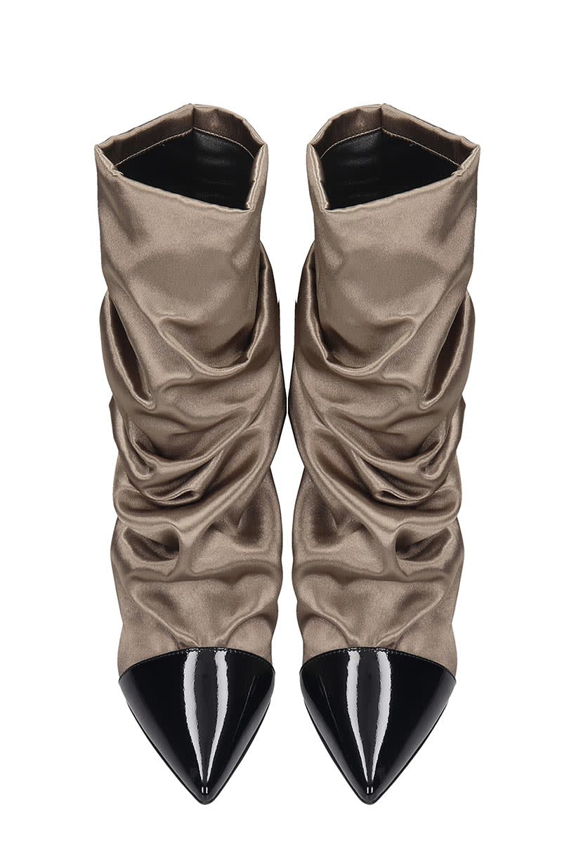 Marc Ellis Marc Ellis High Heels Ankle Boots In Taupe Satin