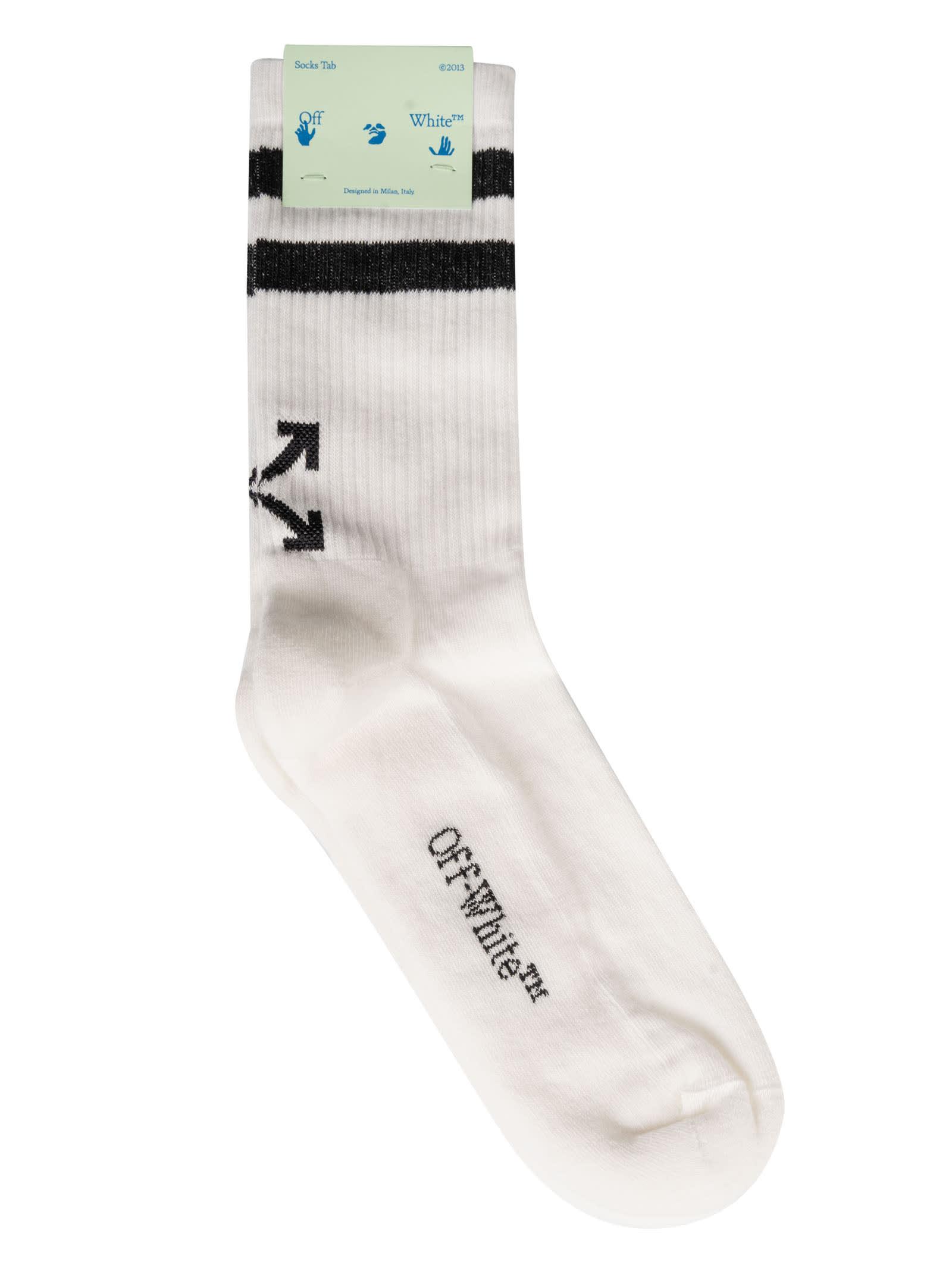 Off-white Striped Socks In White/black