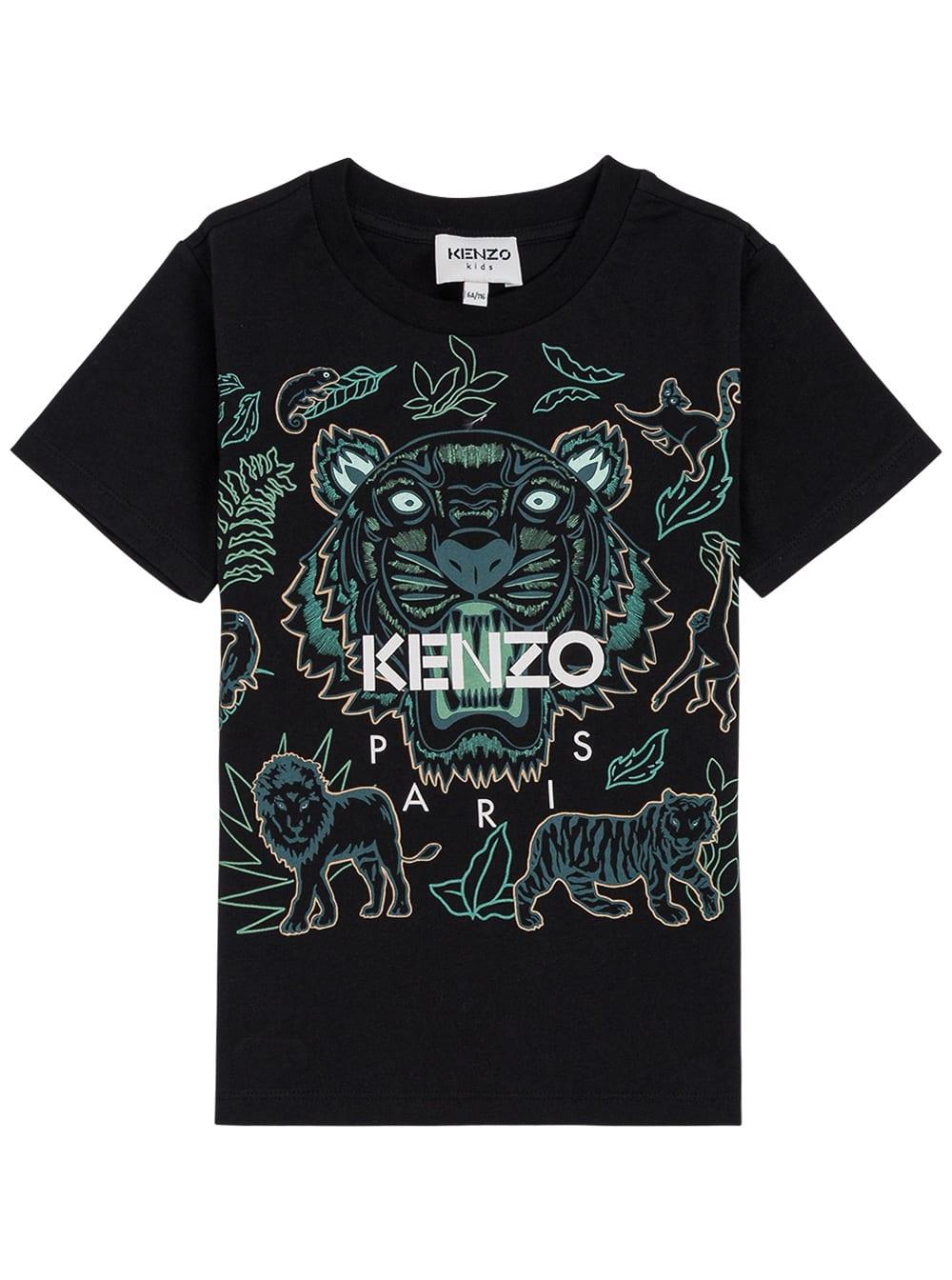 Black Cotton T-shirt With Tiger Print