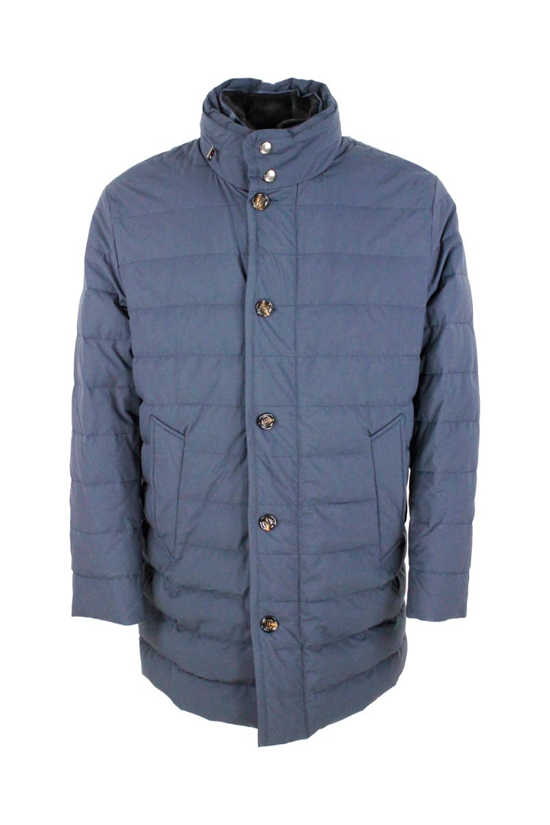 Padded Jacket In Real Goose Down With Retractable Hood. Zip Closure And Detachable Fur Collar