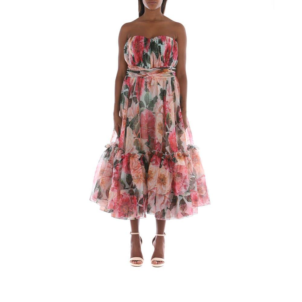 Buy Dolce & Gabbana Camellia-print Chiffon Strapless Dress online, shop Dolce & Gabbana with free shipping
