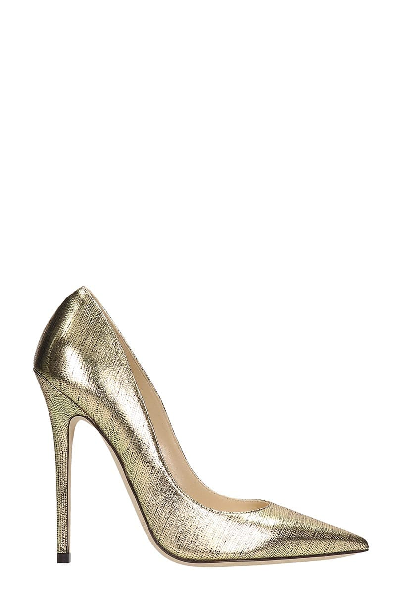 JIMMY CHOO ANOUK PUMPS IN GOLD LEATHER