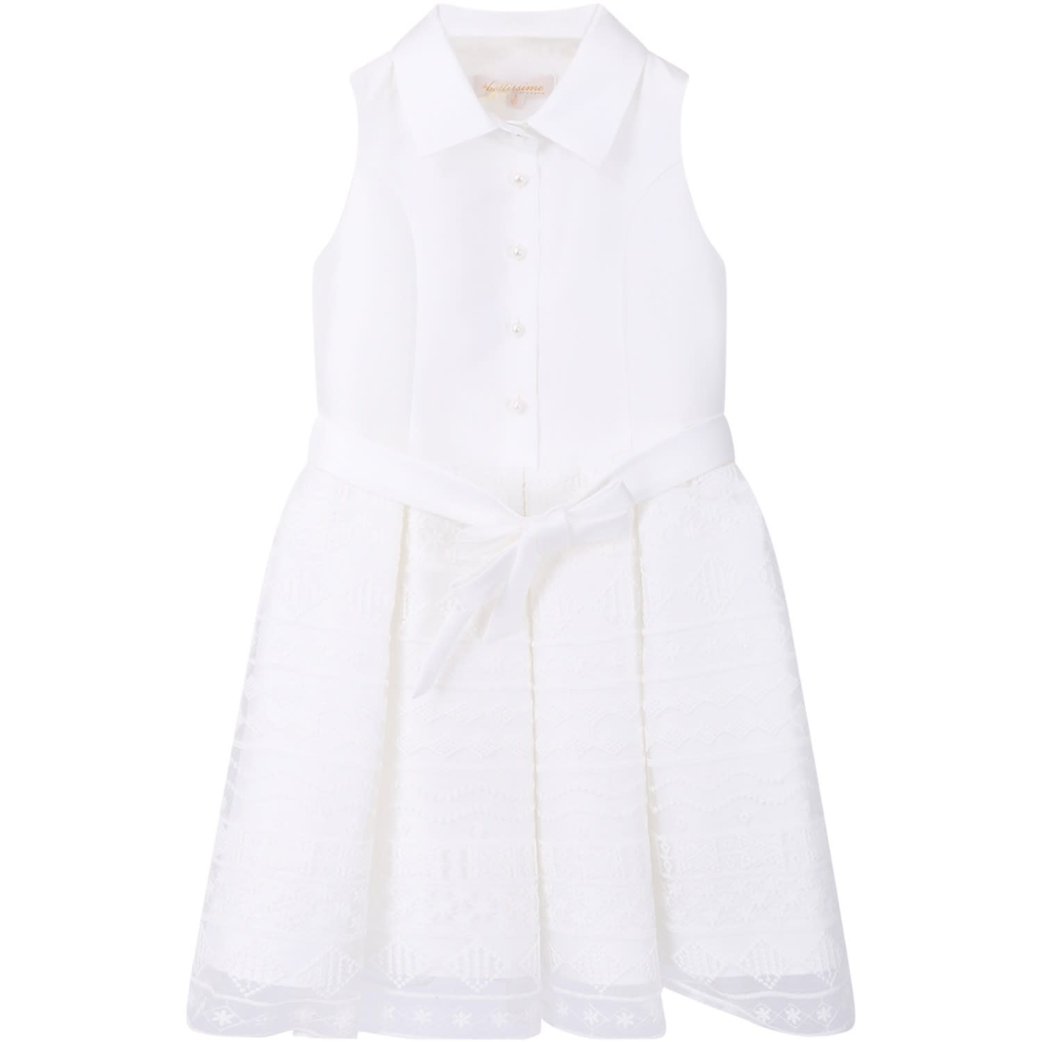 White Dress For Girl With White Embroiderd Polka-dots