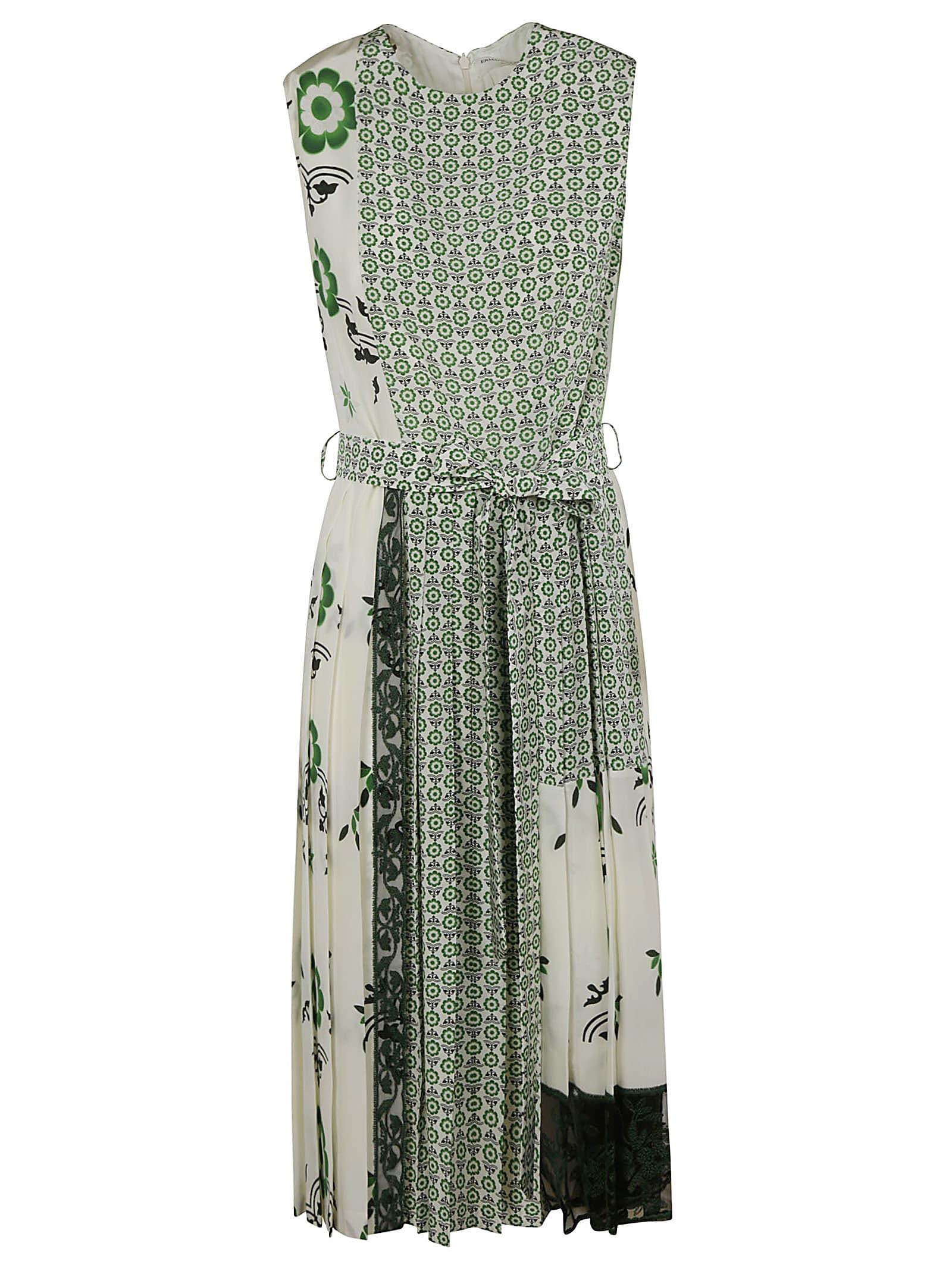 Ermanno Scervino Tie-waist Sleeveless Printed Dress
