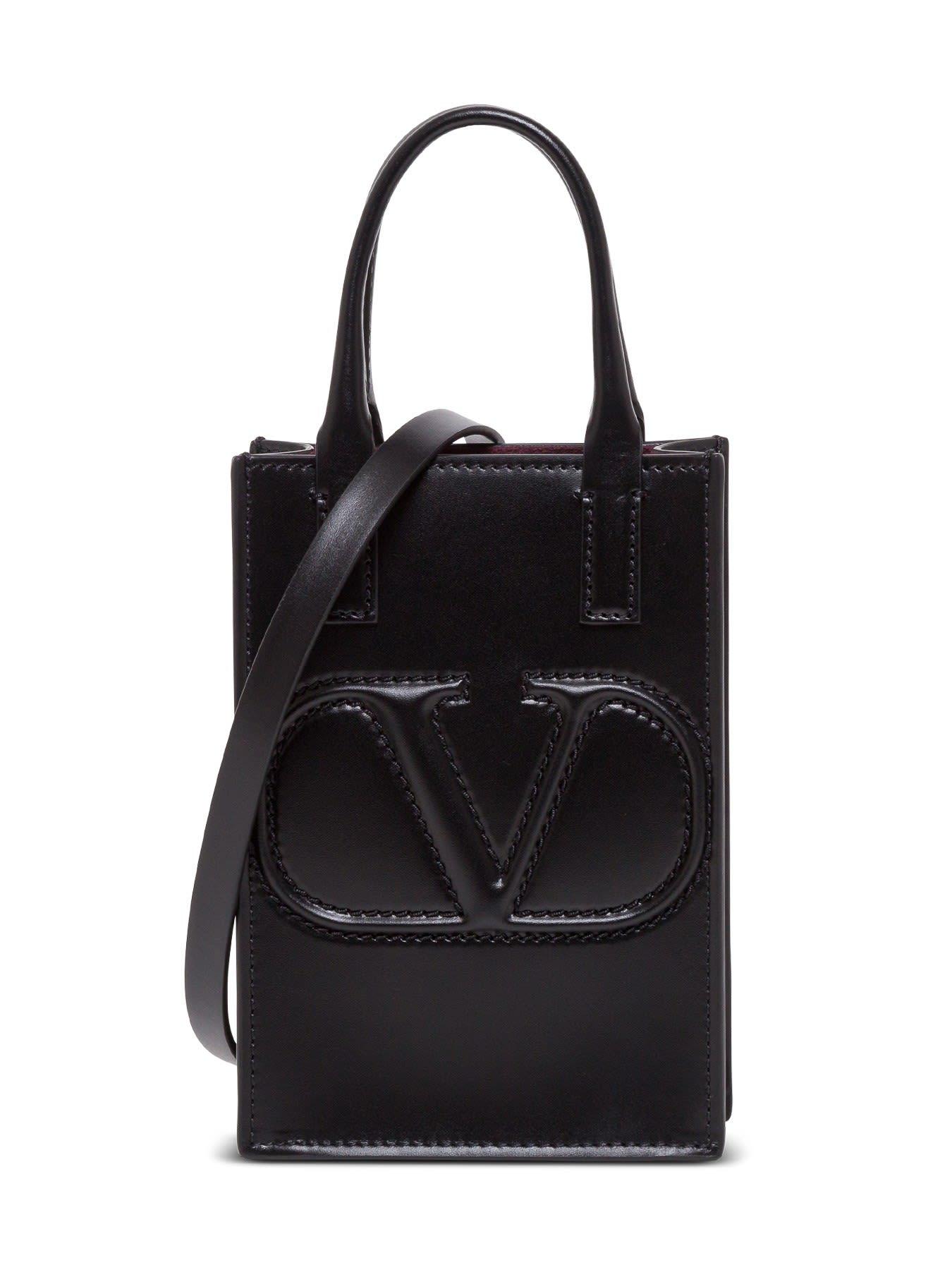 Valentino Garavani Vlogo Leather Crossbody Bag In Black
