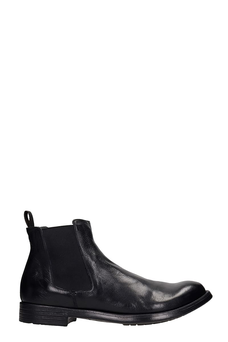 Officine Creative Hive 007 Ankle Boots In Black Leather