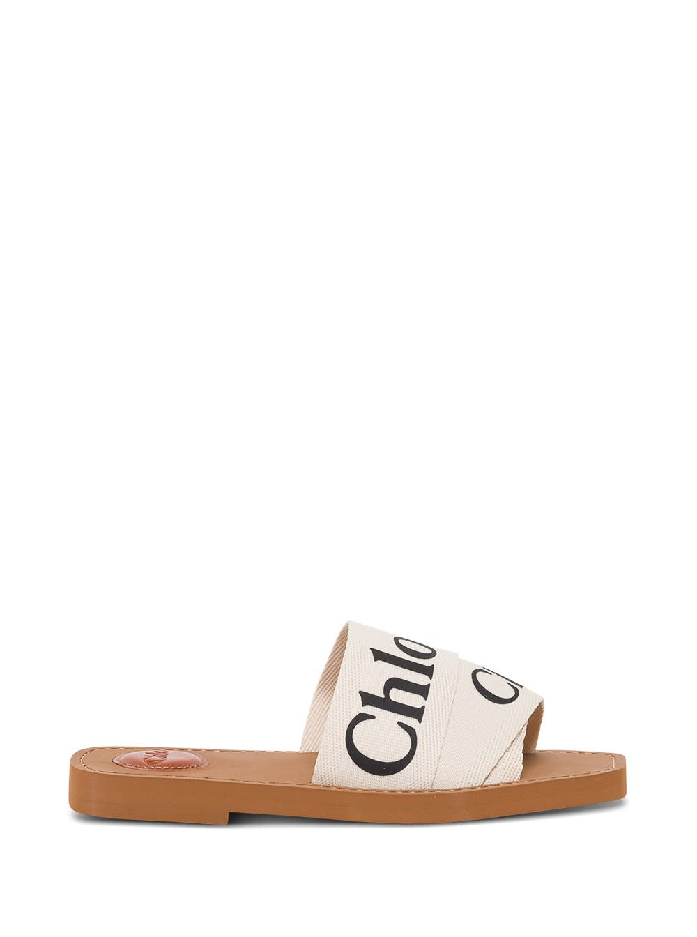 Chloé WOODY SLIDE SANDALS WITH LOGO
