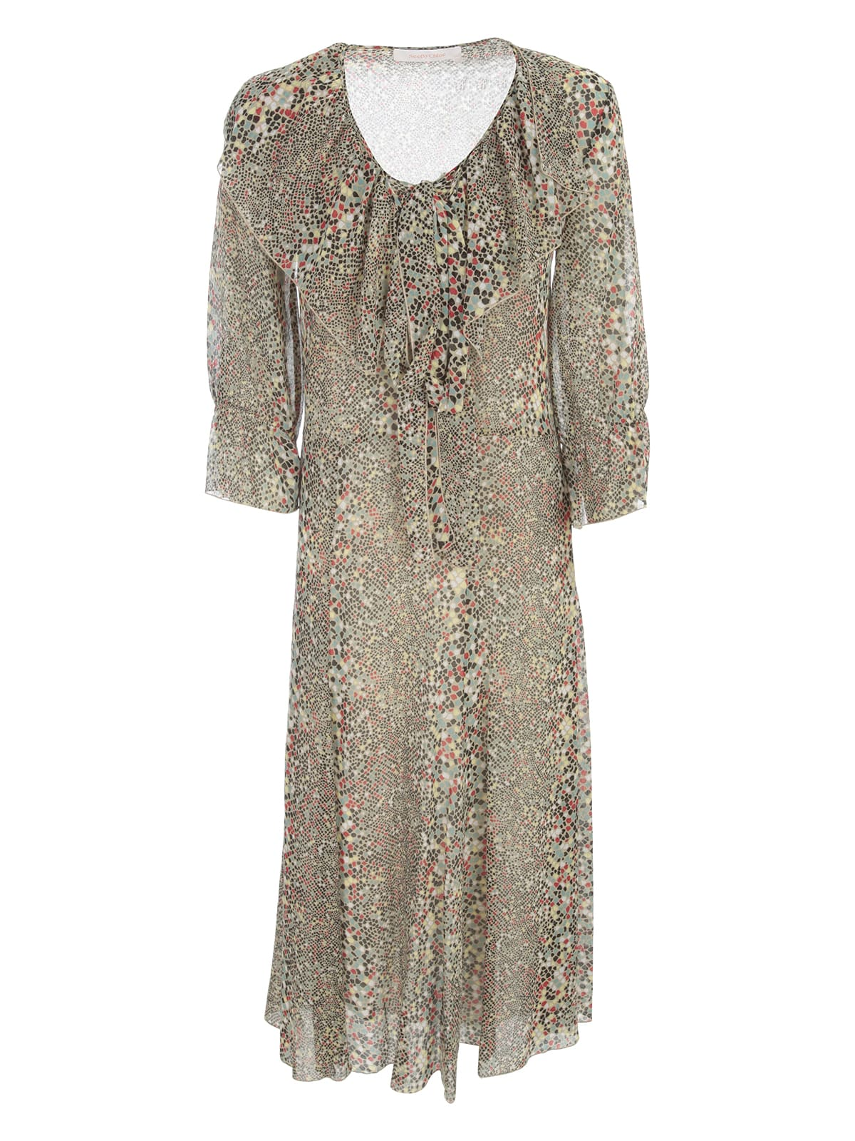 Buy See by Chloé Maxi Dress 3/4s Crew Neck online, shop See by Chloé with free shipping