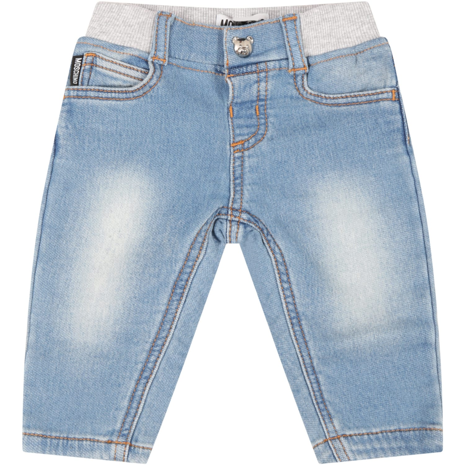 Moschino Cottons LIGHT BLUE JEANS FOR BABYKIDS WITH TEDDY BEAR