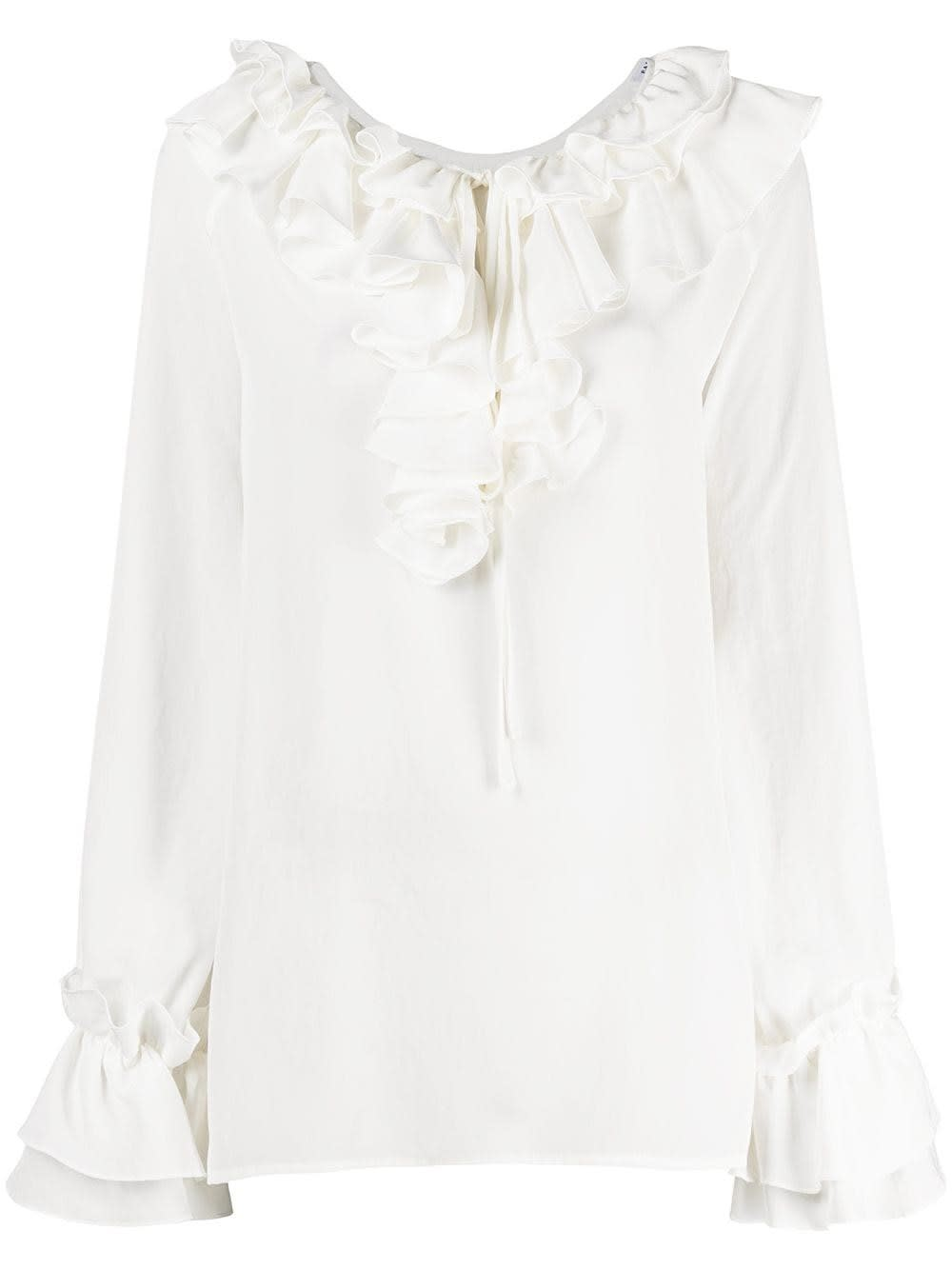 P.a.r.o.s.h. WHITE BLOUSE WITH RUFFLES DETAIL