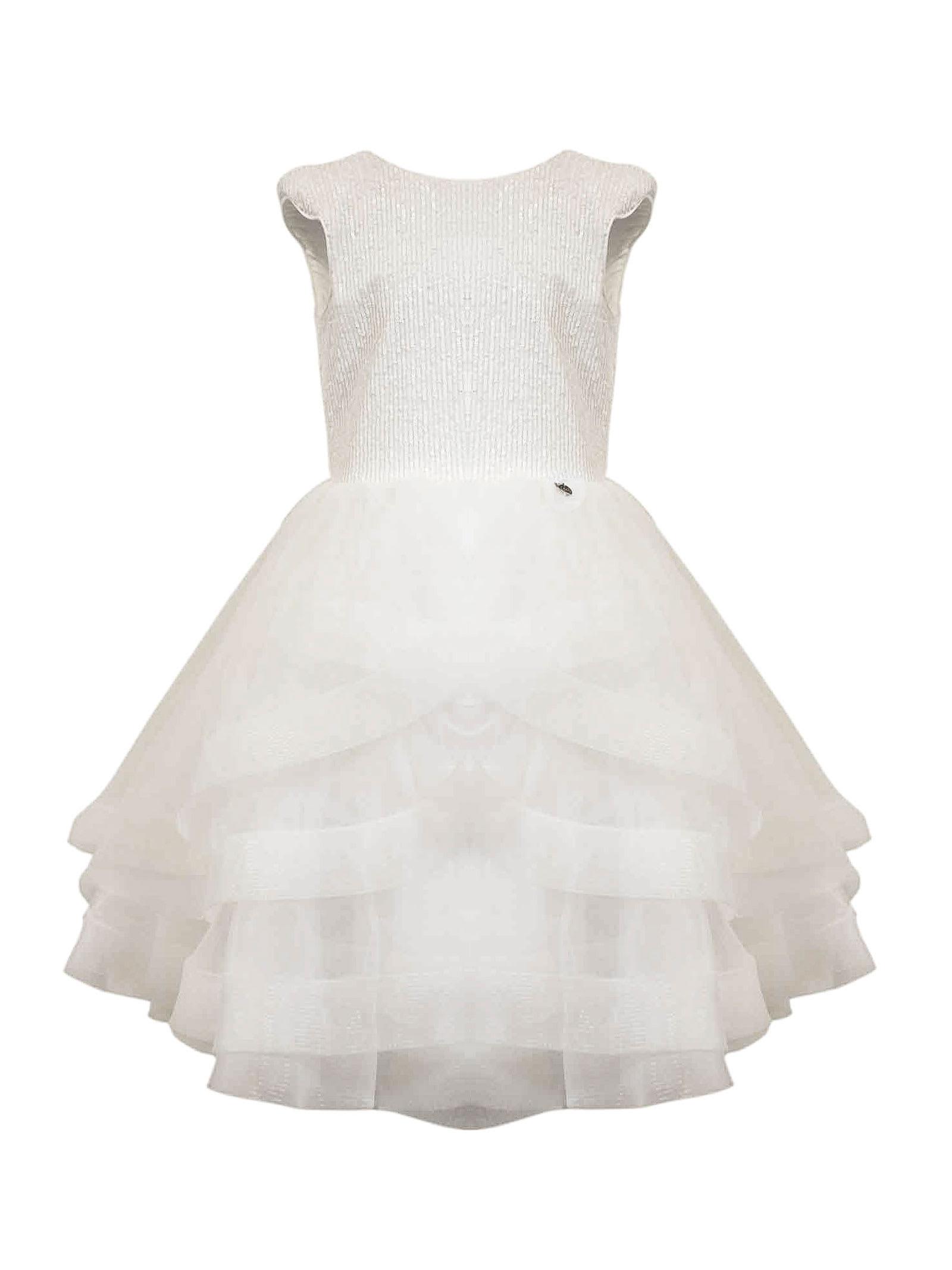 Buy Nunzia Corinna Cream Sequined Tulle Dress online, shop Nunzia Corinna with free shipping