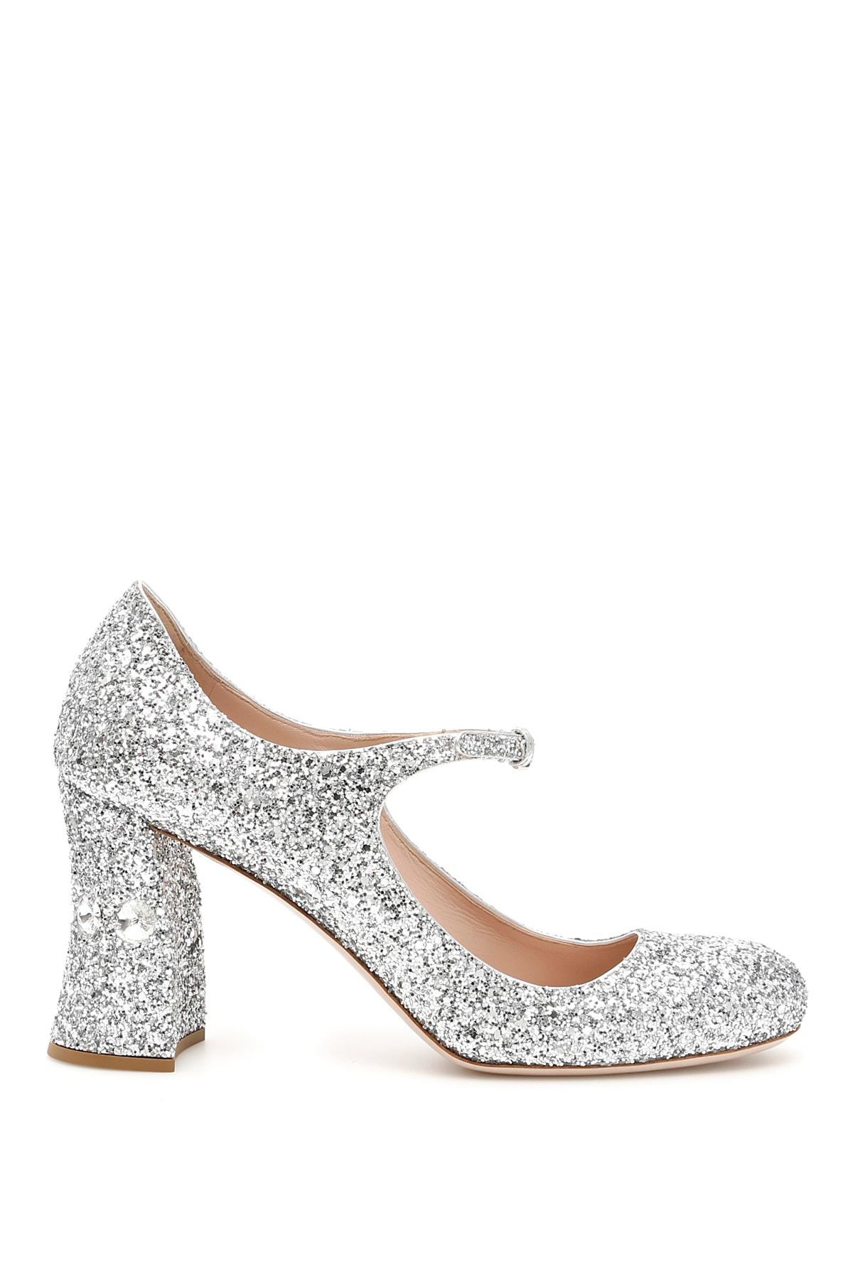 b7a623c4356 Miu Miu Glitter Mary Jane Pumps